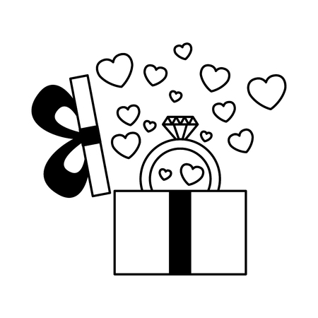gift box with ring and hearts valentine day vector illustration Standard-Bild - 114676086