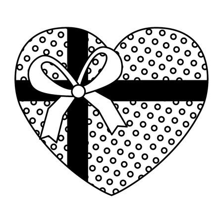 wrapped heart love ribbon valentine day vector illustration Ilustração