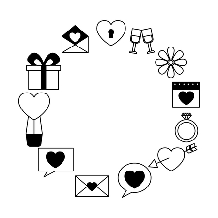 valentine day frame gift message heart flower arrow balloon vector illustration Standard-Bild - 114675649