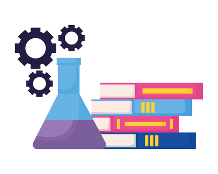 books and chemistry flasks back to school vector illustration