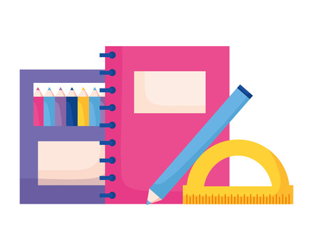 notebook pencil color protractor back to school vector illustration