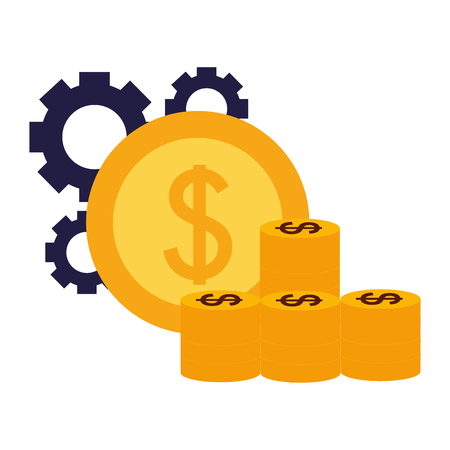 pile coins money gears business success vector illustration Stockfoto - 126465769