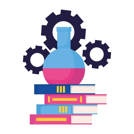 Tube à essai de livres et engrenages retour à l'illustration vectorielle de l'école