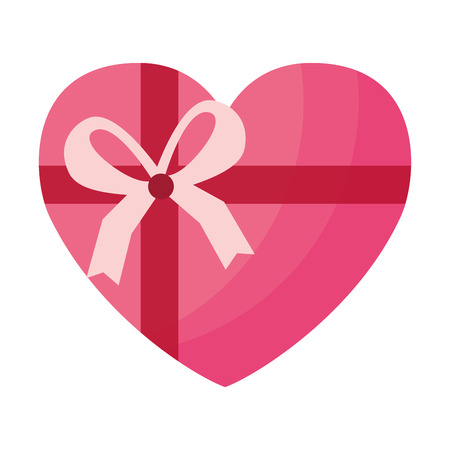 wrapped heart love ribbon valentine day vector illustration Illustration