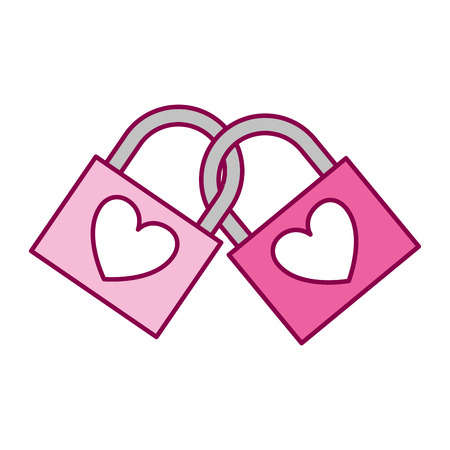 linked padlocks hearts love valentine day vector illustration
