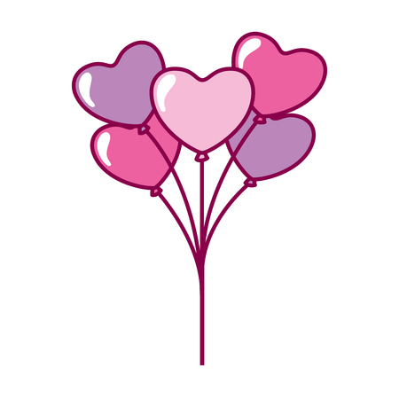 cute bunch balloons hearts valentine day vector illustration