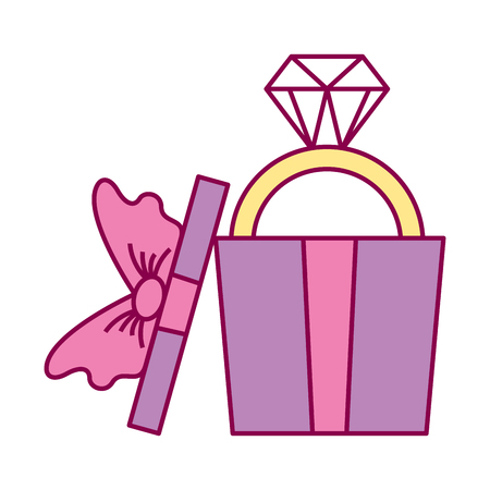 wrapped gift box with ring valentine day vector illustration Illustration