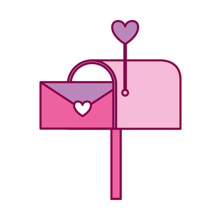 mail box envelope message love valentine day vector illustration