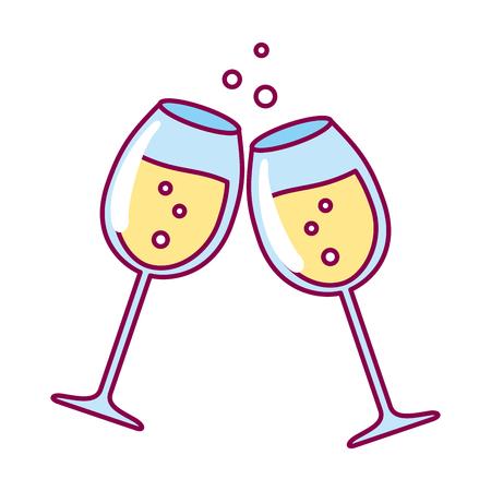 champagne cups celebration white background vector illustration Illustration