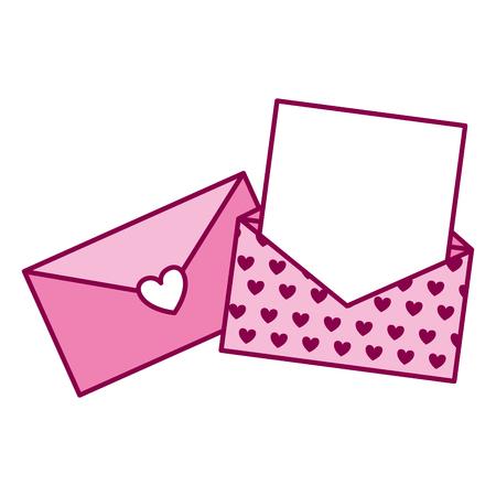 envelope message romantic valentine day vector illustration