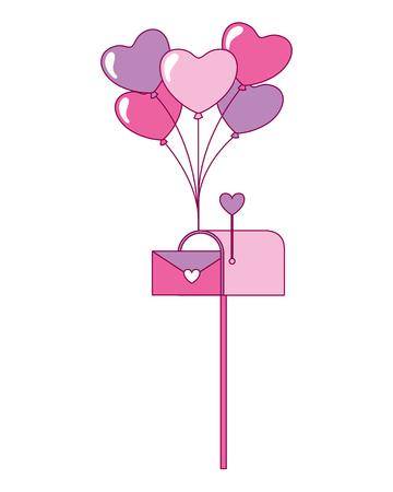 mail box envelope balloons valentine day vector illustration