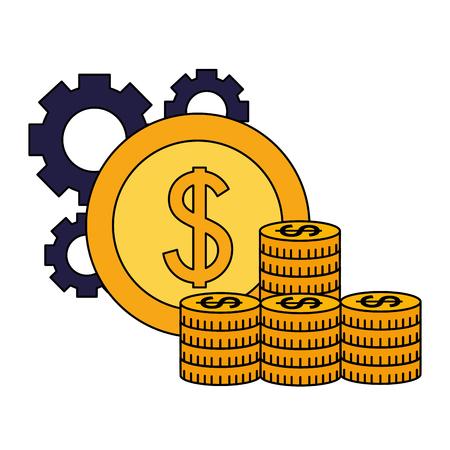 pile coins money gears business success vector illustration Stock Illustratie