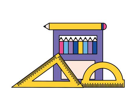 pencil color protractor ruler back to school vector illustration