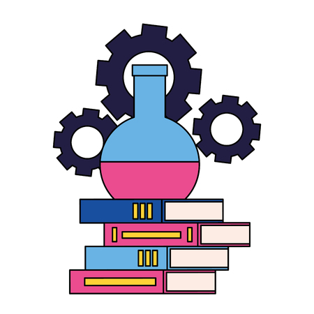 books test tube and gears back to school vector illustration