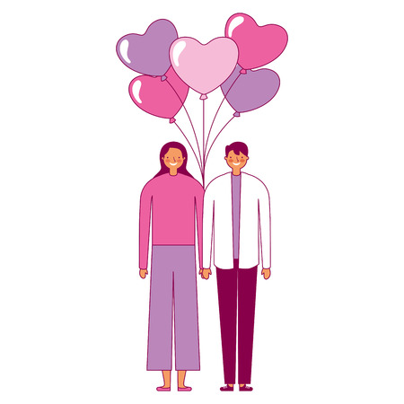 couple holding bunch balloons valentine day vector illustration Illustration