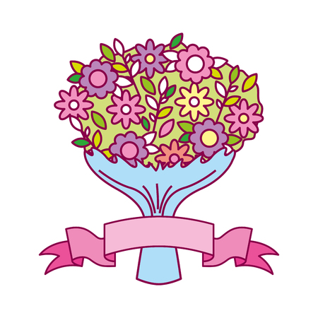 cute bouquet flowers ribbon valentine day vector illustration