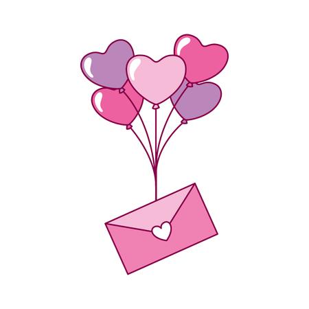 envelope message balloons heart valentine day vector illustration Foto de archivo - 126465810