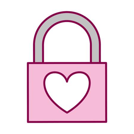 padlock heart love valentine day vector illustration