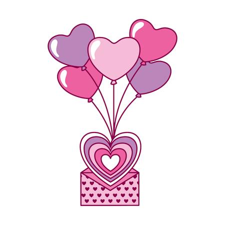 flying message balloons heart valentine day vector illustration Illustration