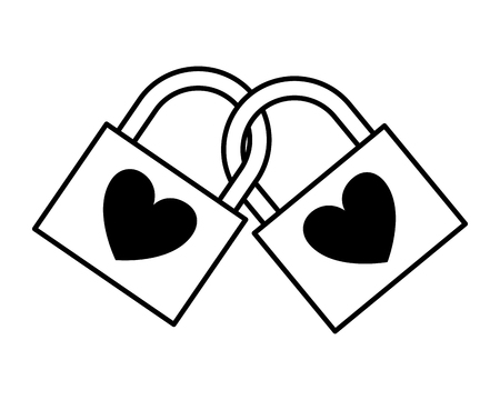 linked padlocks hearts love valentine day vector illustration monochrome Banco de Imagens - 126465813