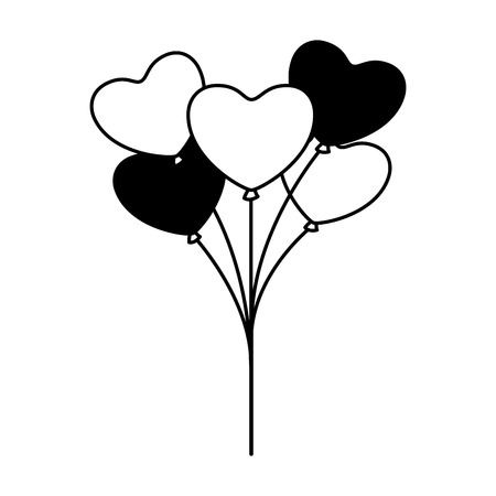 cute bunch balloons hearts valentine day vector illustration monochrome Stock Vector - 126465814