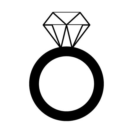 Anillo de oro con diamantes monocromo de ilustración de vector de día de San Valentín