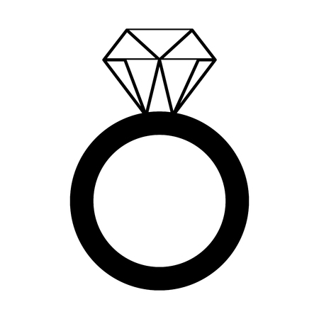 gouden ring met diamant valentijn dag vector illustratie zwart-wit