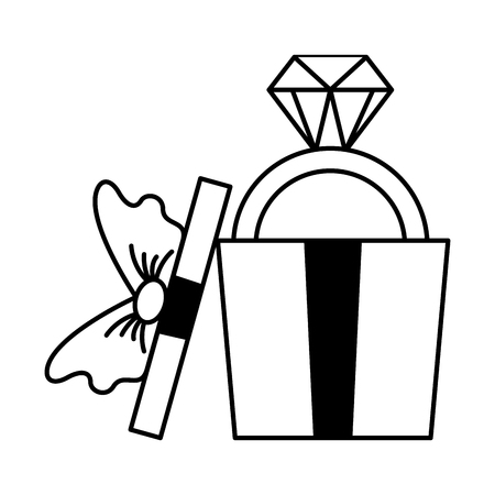 wrapped gift box with ring valentine day vector illustration monochrome Illustration