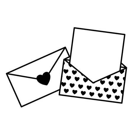 envelope message romantic valentine day vector illustration monochrome Illustration