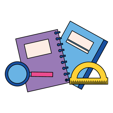 book notebbok protractor and magnifying glass back to school vector illustration Stock Illustratie