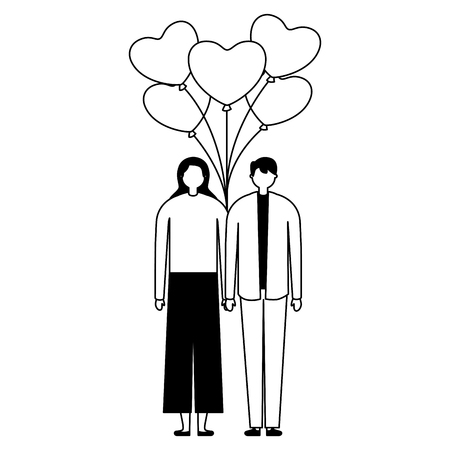 couple holding bunch balloons valentine day vector illustration monochrome