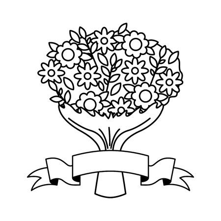 cute bouquet flowers ribbon valentine day vector illustration monochrome Illustration