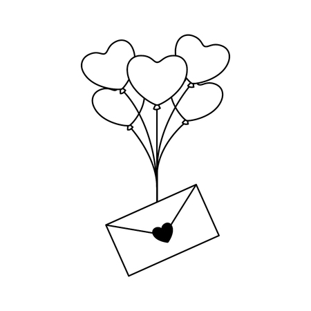 envelope message balloons heart valentine day vector illustration monochrome Stock Vector - 126465831