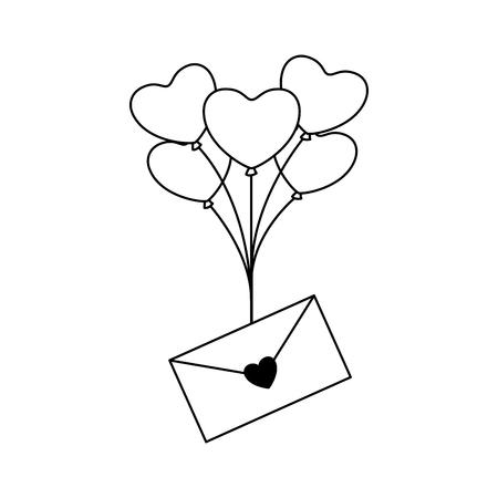 envelope message balloons heart valentine day vector illustration monochrome Illustration