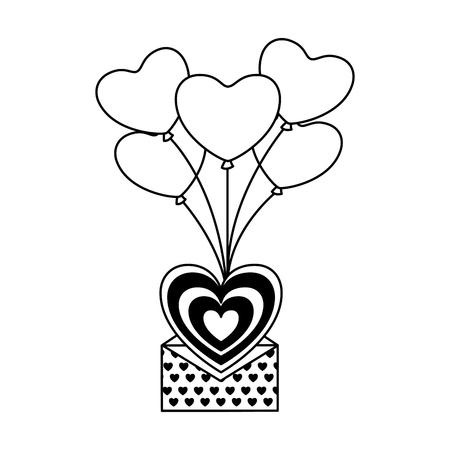 flying message balloons heart valentine day vector illustration monochrome