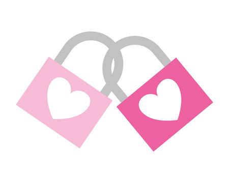 linked padlocks hearts love valentine day  vector illustration