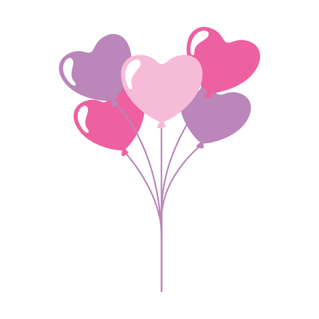 cute bunch balloons hearts valentine day  vector illustration Stock Vector - 114675307