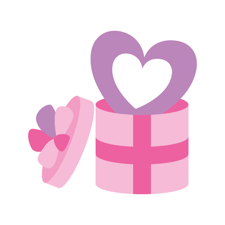 wrapped gift box with heart valentine day  vector illustration