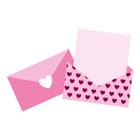 envelope message romantic valentine day  vector illustration