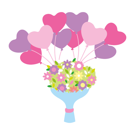 cute bouquet flowers balloons valentine day  vector illustration