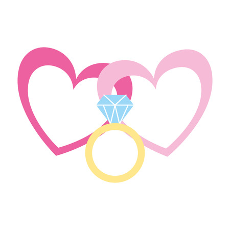 hearts ring love romantic valentine day  vector illustration