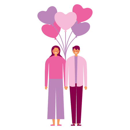 couple holding bunch balloons valentine day  vector illustration