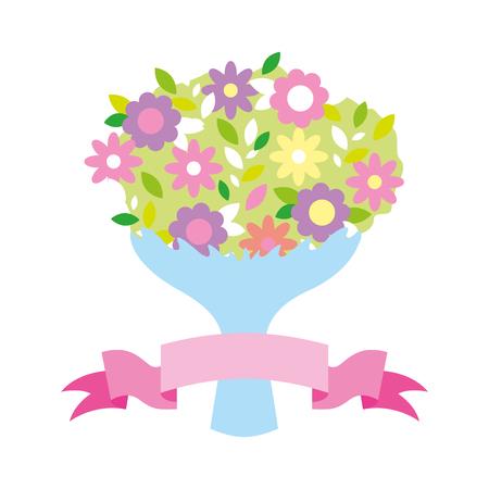 cute bouquet flowers ribbon valentine day  vector illustration Illustration