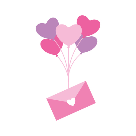 envelope message balloons heart valentine day  vector illustration