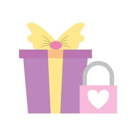 wrapped gift box with padlock love valentine day  vector illustration