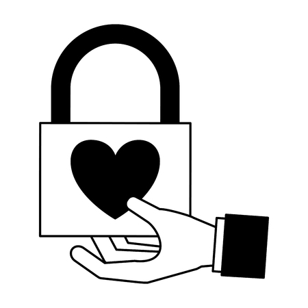 hand holding love padlock valentine day  vector illustration monochrome