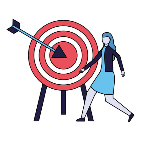 business woman and target arrow strategy vector illustration