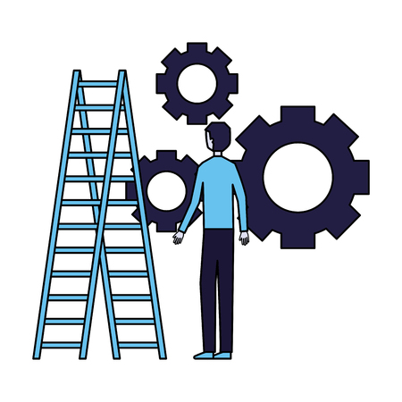 businessman with gears and stairs vector illustration Illustration