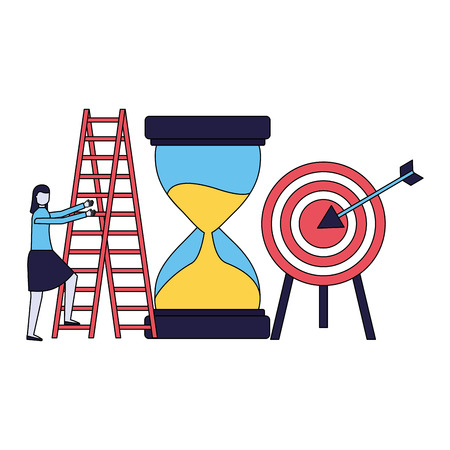 business woman with hourglass target and stairs vector illustration