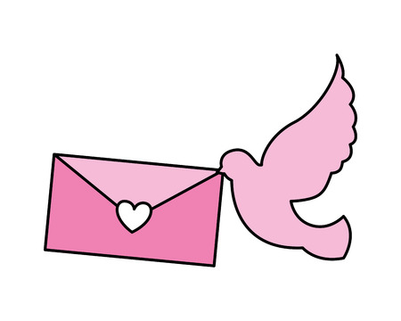 flying dove with message love valentine day  vector illustration